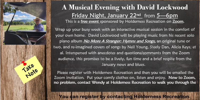 Zoom Event with local musician David Lockwood - January 22nd at 5pm